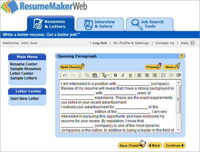 Sample Cover Letters and Emails ResumeMaker