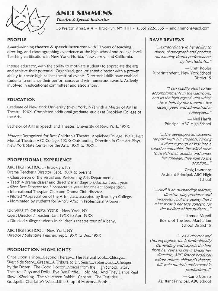 Theatre Instructor Resume Sample - Choreographer Sample Resume