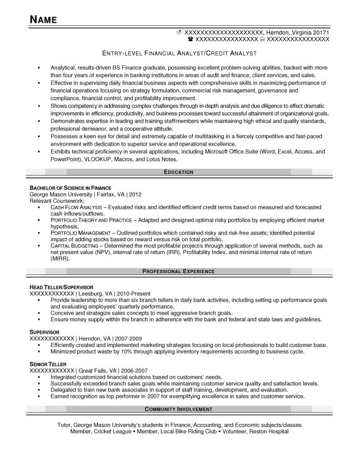 Entry-Level Resume Samples - Resume Prime - sample resume for credit analyst