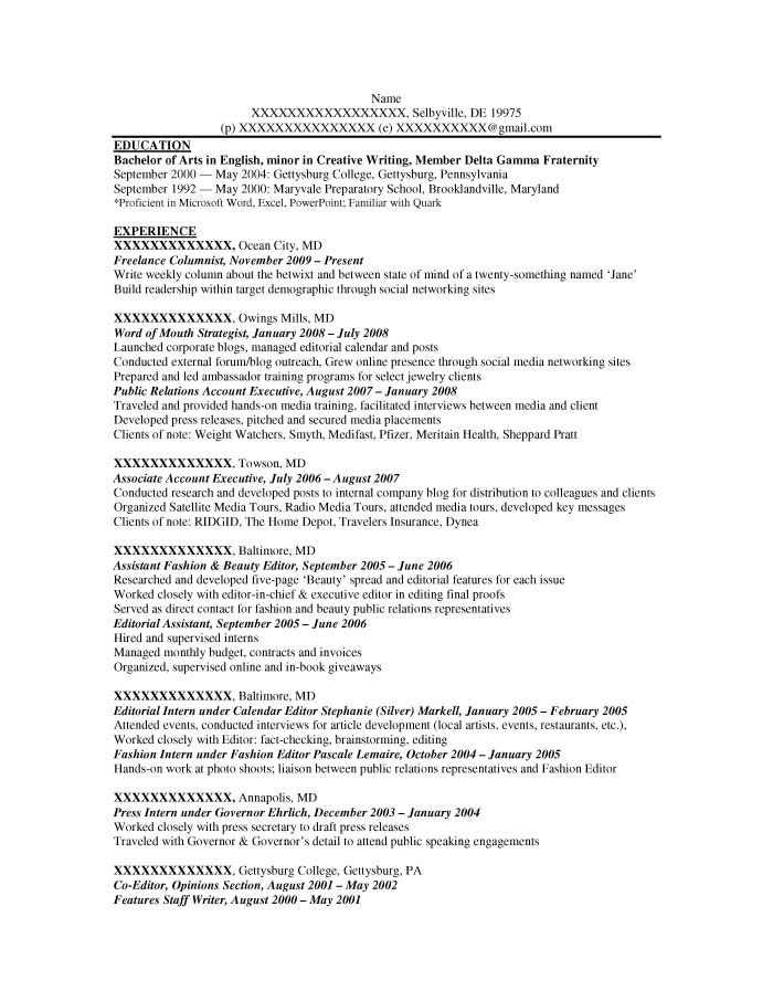 Entry-Level Resume Samples - Resume Prime - columnist resume 2