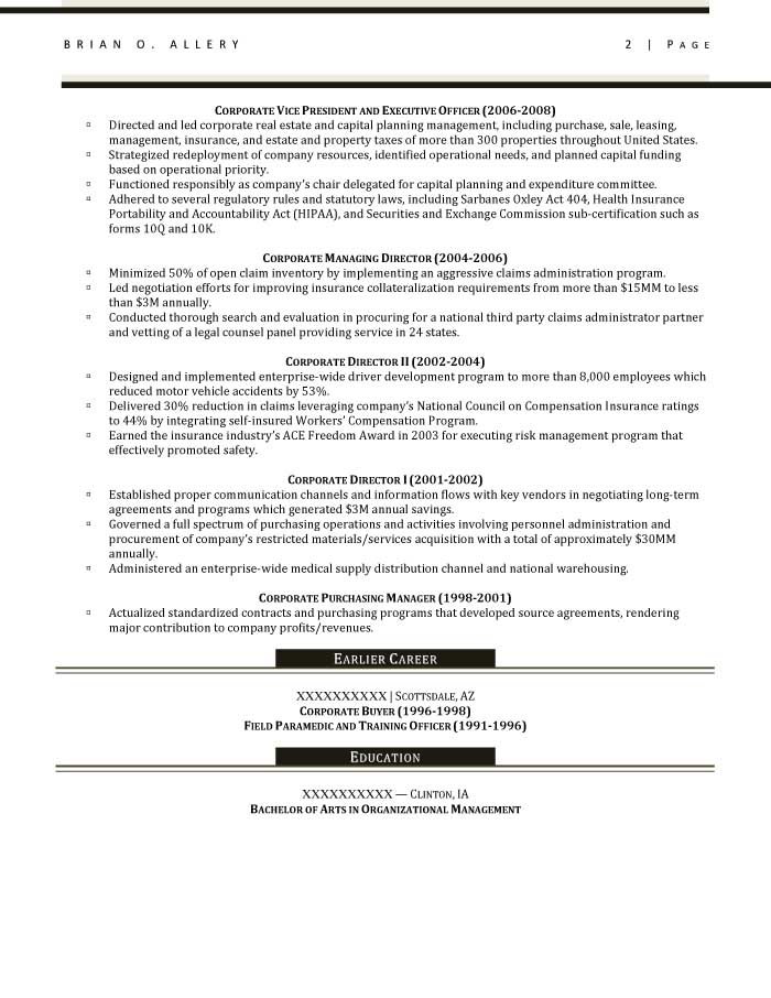 Executive Resume Samples - Resume Prime - Sample Resume Purchasing Manager
