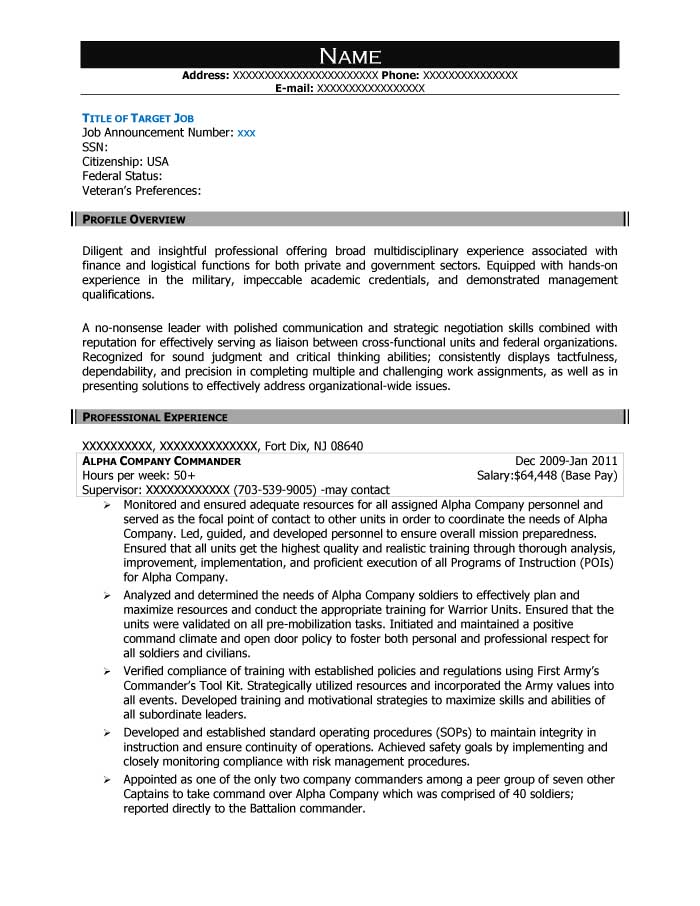 Free Federal Resume Sample from Resume Prime - federal resume