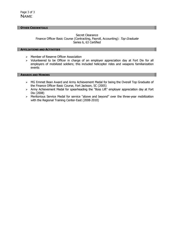 Free Federal Resume Sample from Resume Prime - reserve officer sample resume