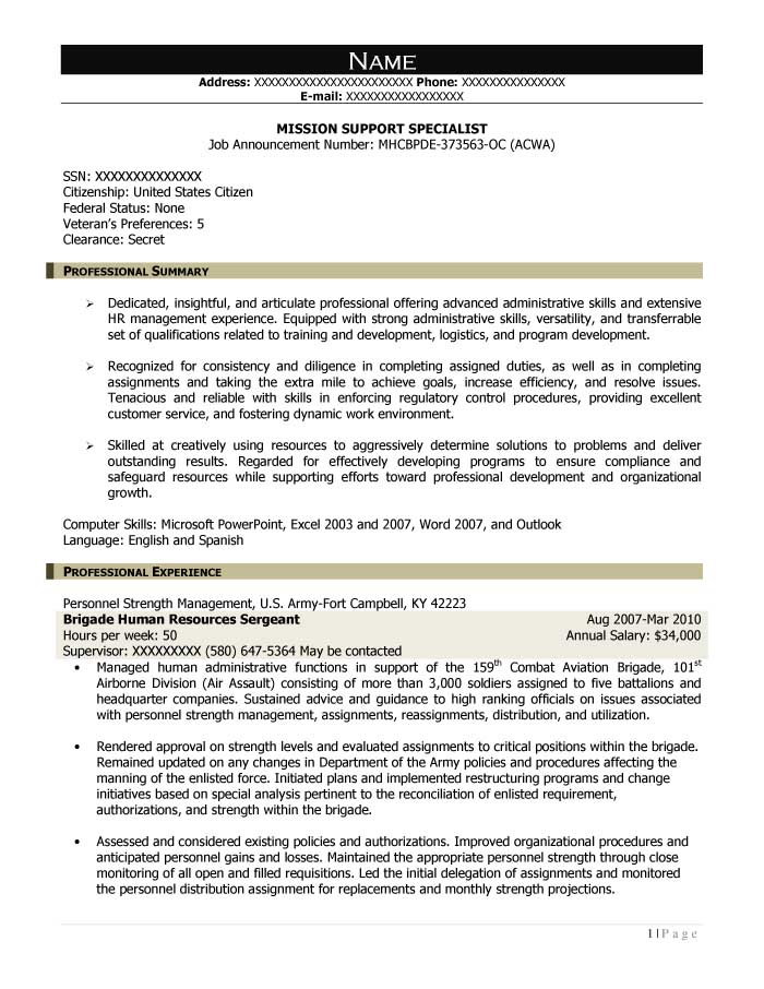 Free Federal Resume Sample from Resume Prime - reconciliation specialist sample resume