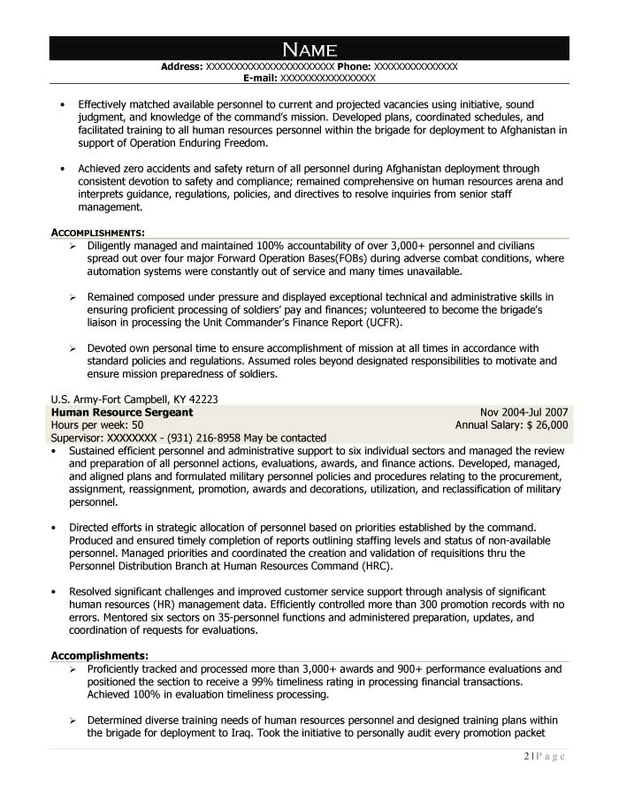 Free Federal Resume Sample from Resume Prime - signal support systems specialist sample resume