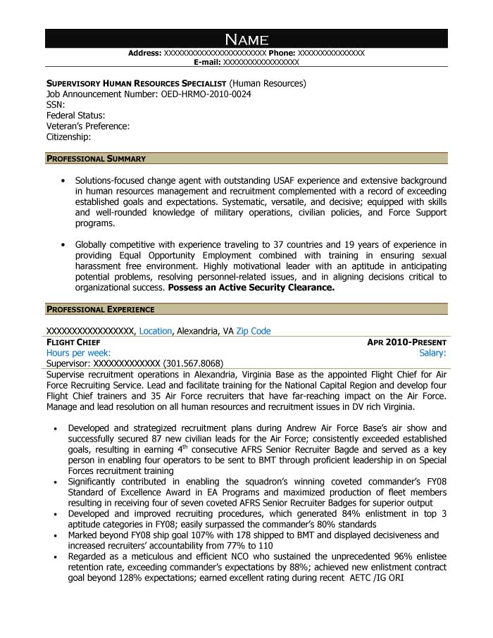 Free Federal Resume Sample from Resume Prime - resource specialist sample resume