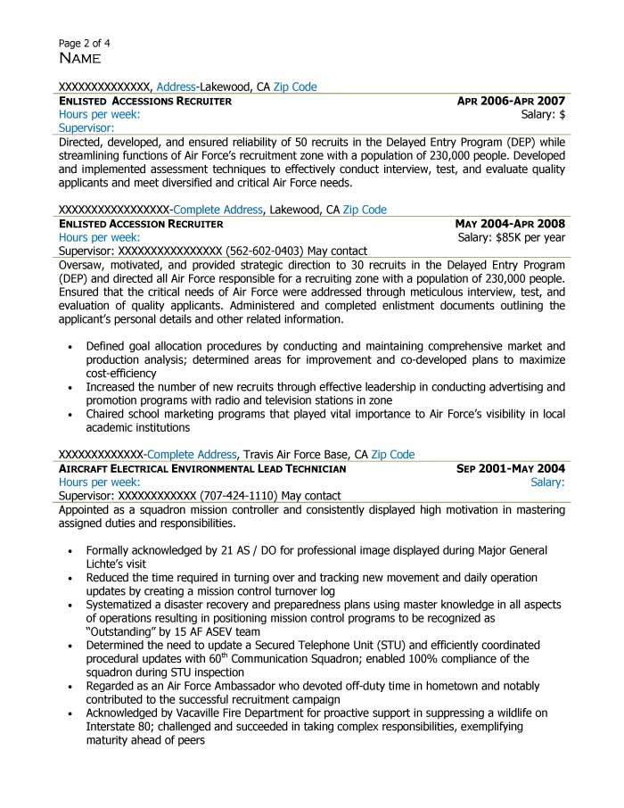 Free Federal Resume Sample from Resume Prime - sample of federal resume