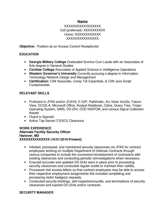 military intelligence officer sample resume  police