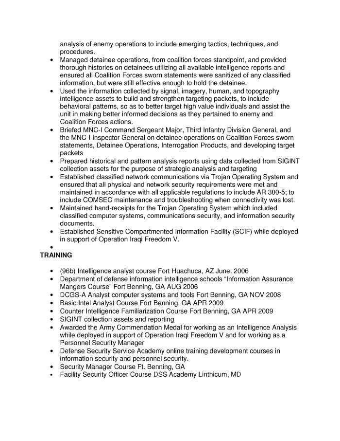 Free Federal Resume Sample from Resume Prime - intelligence specialist sample resume