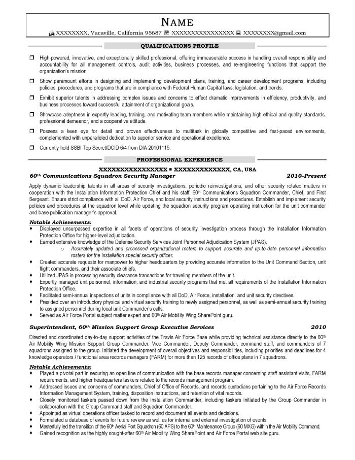 it security manager resumes - Ozilalmanoof - Communications Manager Resume