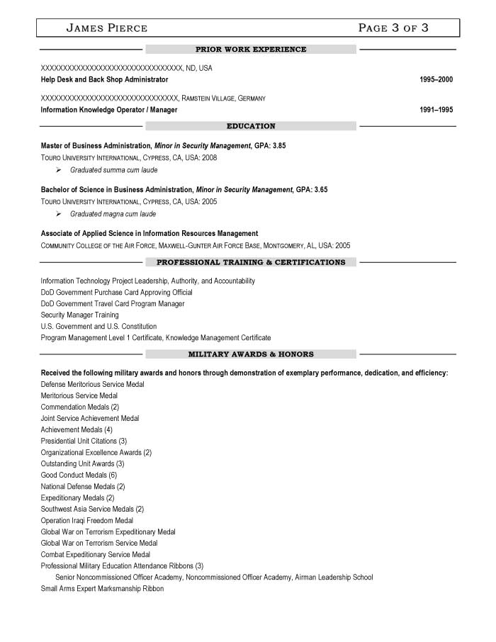 Military Transition Resume Samples - Resume Prime