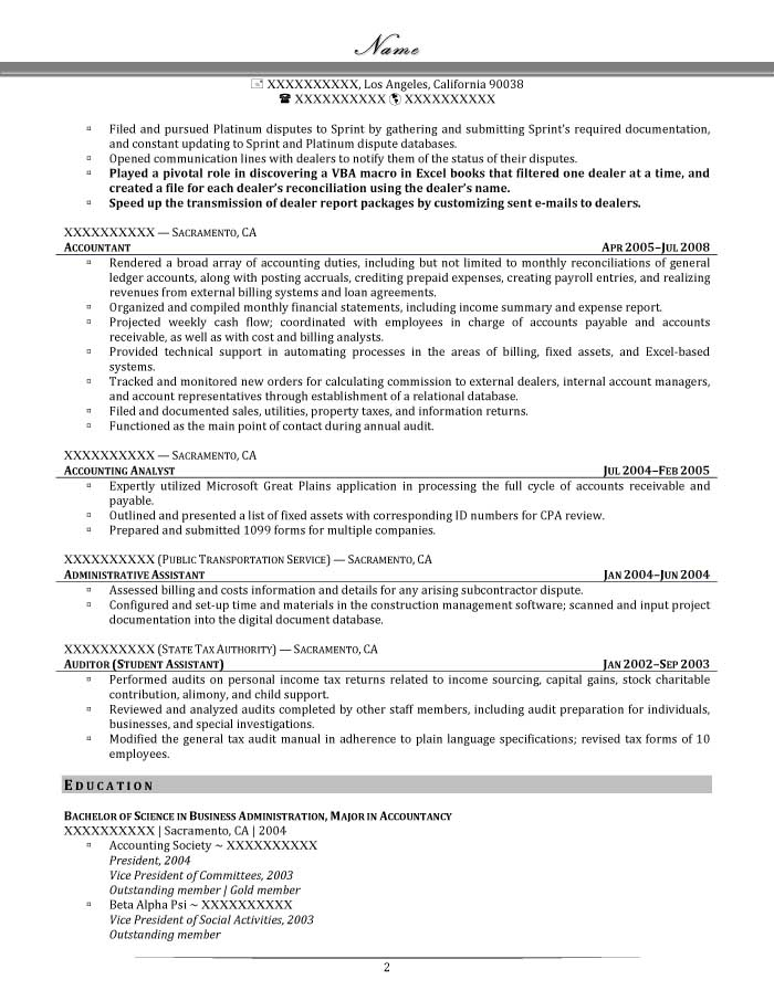 Professional Resume Samples - Resume Prime - Fixed Asset Accountant Sample Resume