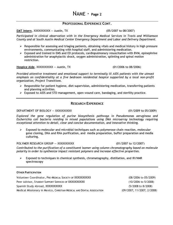 Student Resume Samples - Resume Prime - biology resume examples