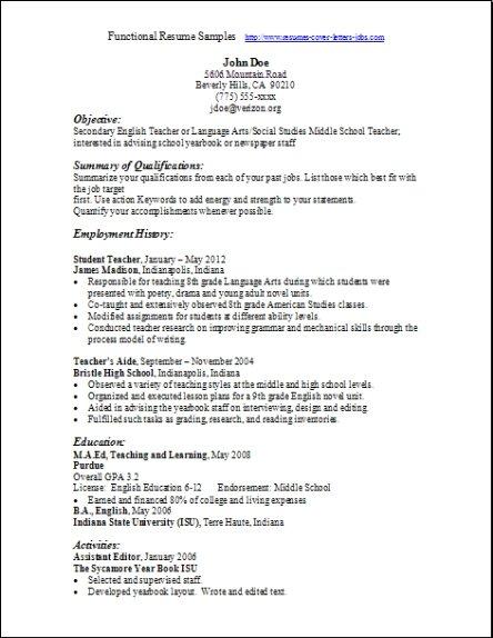 resume styles functional