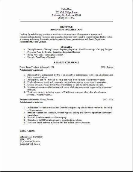 Administrative Assistant Resume, examples, samples Free edit with word - Project Assistant Resume