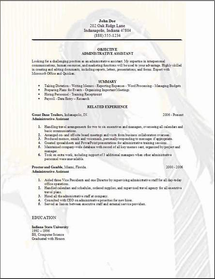 administrative assistant resume sample free - Eczasolinf