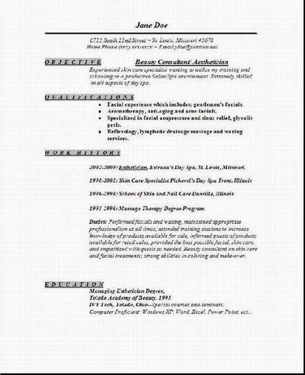 aesthetician resume template
