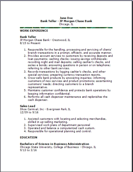 Bank Teller ResumeExamples,Samples Free edit with word - teller resume cover letter