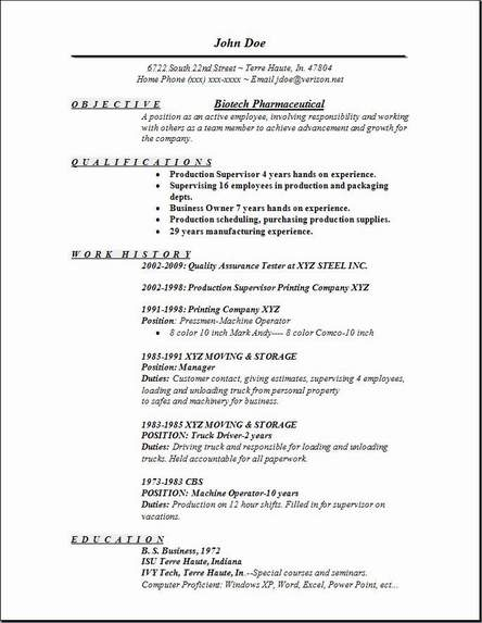 resume templates for biotech jobs