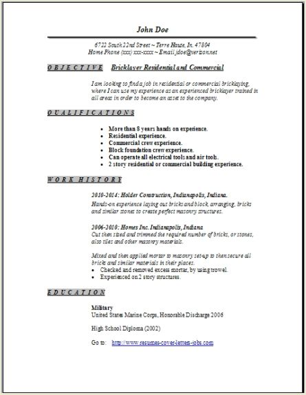 Bricklayer Resume, Occupationalexamples, samples Free edit with word