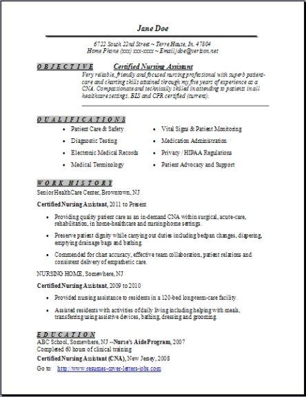 nursing resume certified nursing assistant nursing assistant