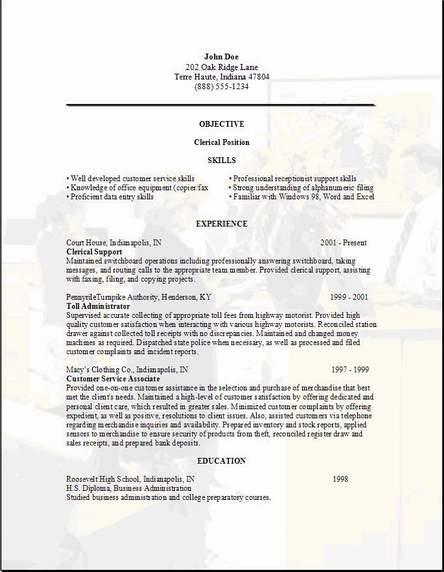 Clerical Resume Resume Badak - clerical assistant resume