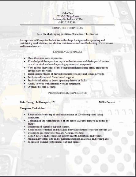 Computer Technician Resume, examples,samples Free edit with word - sample technical resume