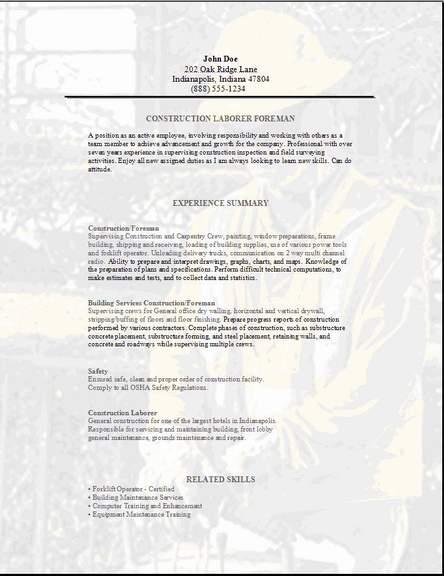 sample resume for skilled trades