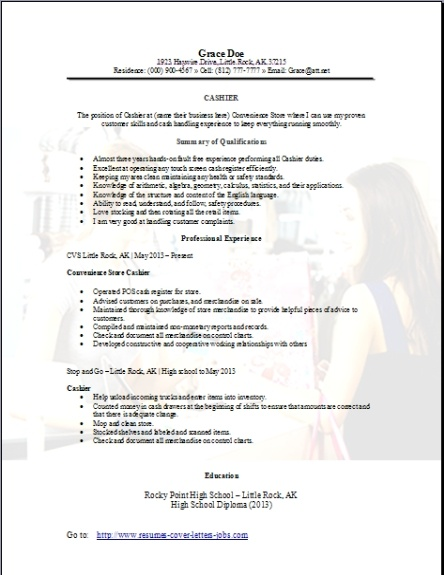 Convenience Store Cashier Resume, Occupationalexamples,samples Free