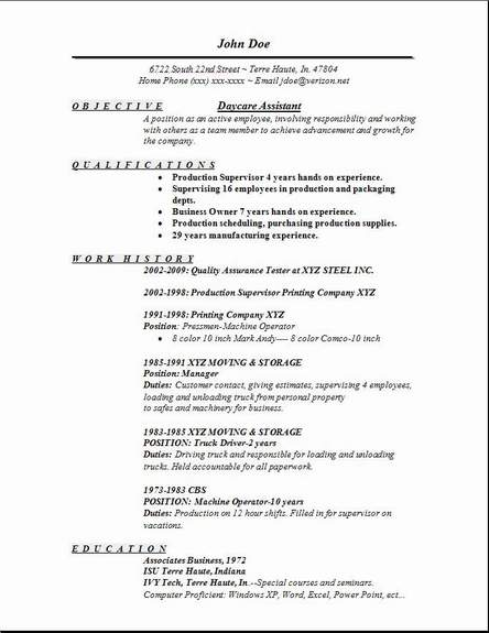 daycare assistant resume - Trisamoorddiner