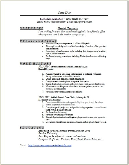 Sample Dental Hygienist Resume Example  Simple Dental Hygiene