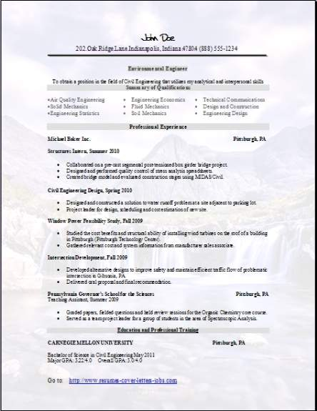 Environmental Resume, Occupationalexamples, samples Free edit with word