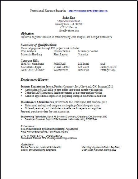 Functional Resume Examples - Template