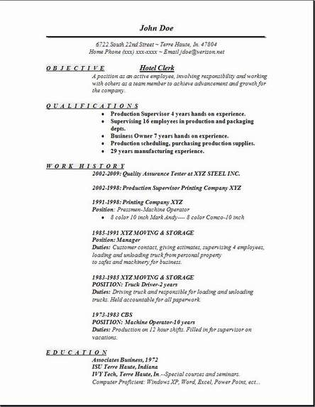 hotel job resume - Jolivibramusic