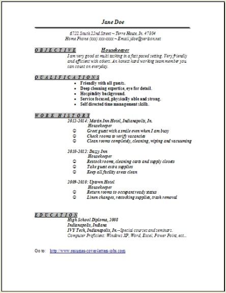 free sample resume for housekeeper