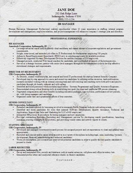 HR Management Resume, Occupationalexamples, samples Free edit with word - sample resume for management position
