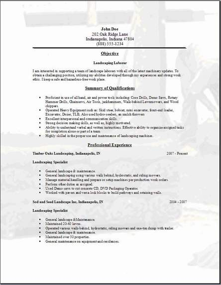 Be One Landscaping resume samples - free sample resume examples