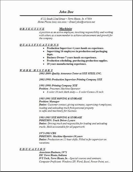 Machinist Resume, Occupationalexamples,samples Free edit with word