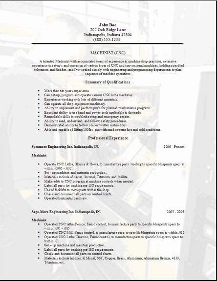machinist resume templates