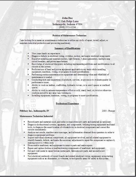 Maintenance Technician Resume, Occupationalexamples, samples Free