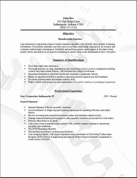 sample resume manufacturing - Goalgoodwinmetals - sample resume manufacturing