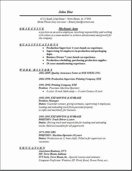 Resume Words For Mechanic Resume Format Retail