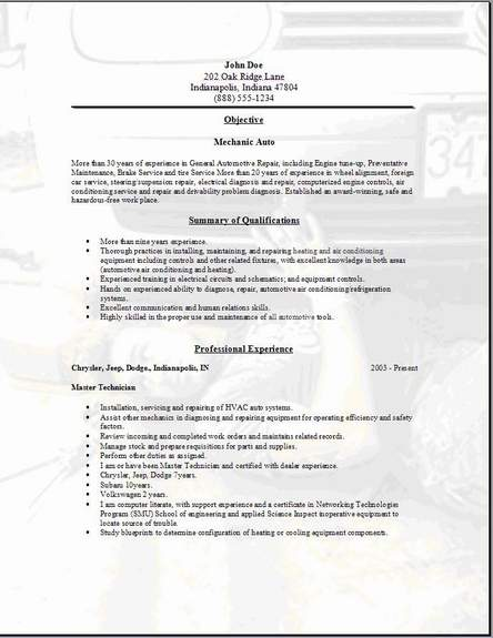 free resume templates for auto mechanic