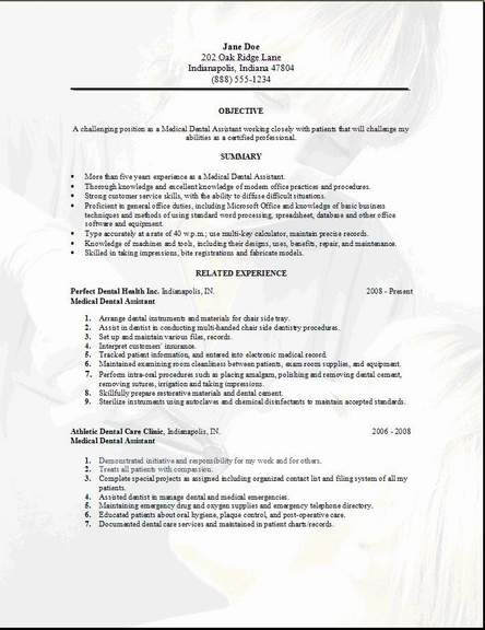 Medical Dental Resume, Occupationalexamples,samples Free edit with word - dental resume format