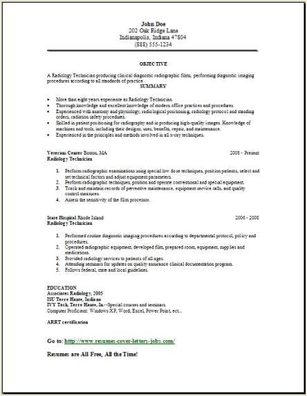example of x ray tech resume
