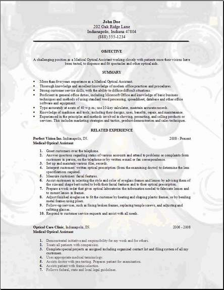 Medical Optical Resume, Occupationalexamples,samples Free edit with