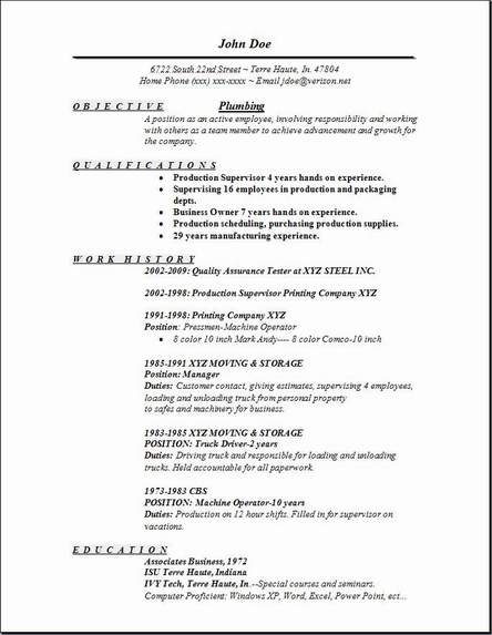 sample plumber resume - Goalgoodwinmetals