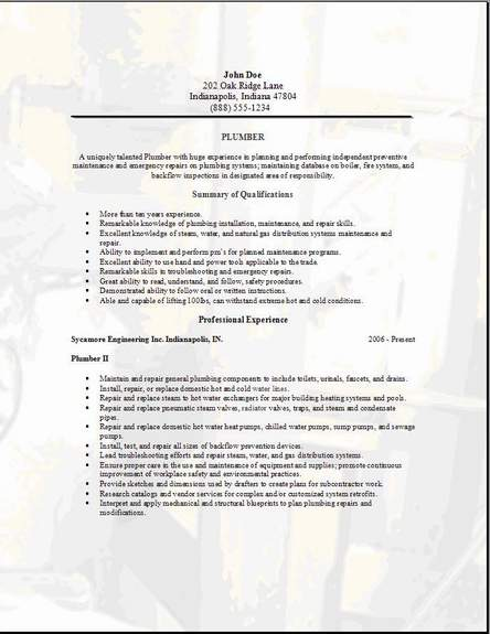resume for interview sample