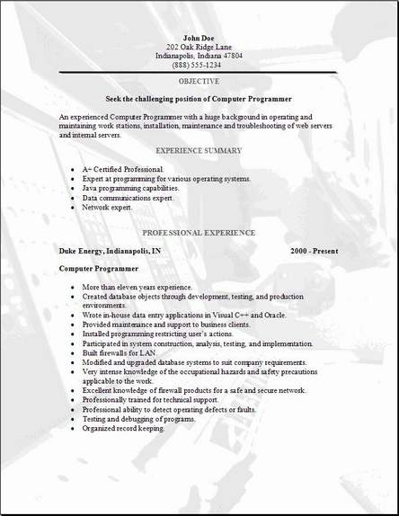 Programming Resume, Occupationalexamples,samples Free edit with word