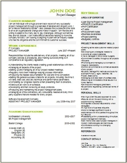 Project Management Resume, Occupationalexamples,samples Free edit